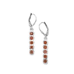 Songea Red Sapphire Earrings in Sterling Silver 1.50cts