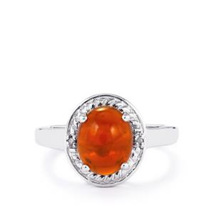 American Fire Opal & Diamond Sterling Silver Ring ATGW 2.29cts