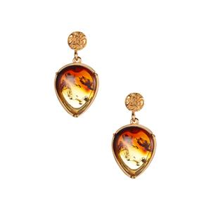 Baltic Ombre Amber (13x16mm) Gold Tone Earrings in Sterling Silver