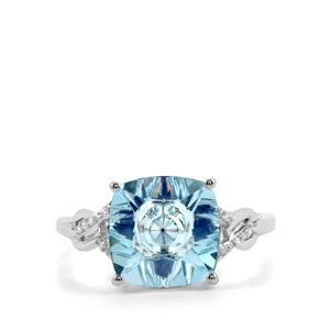 Lehrer KaleidosCut Sky Blue Topaz, Ceylon Sapphire & Diamond 10K White Gold Ring ATGW 4.06cts