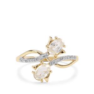 Ratanakiri Zircon & Diamond 9K Gold Ring ATGW 1.58cts