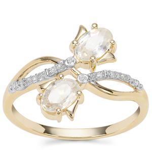 Ratanakiri Zircon Ring with Diamond in 9K Gold 1.58cts
