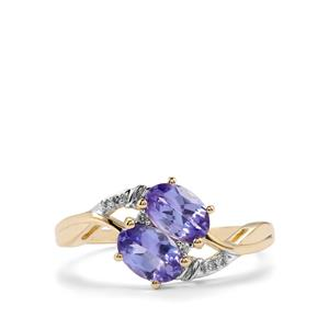 AA Tanzanite Ring with Diamond in 10K Gold 1.21cts