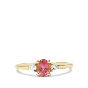 Mozambique Pink Spinel & White Zircon 9K Gold Ring ATGW 0.82cts