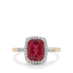 Nigerian Rubellite Ring with White Zircon in 9K Gold 2.50cts