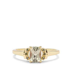Csarite® Ring with Green Diamond in 9K Gold 1.04cts