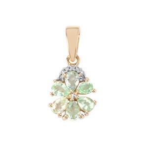 Paraiba Tourmaline Pendant with Diamond in 9K Gold 1cts