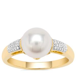 South Sea Cultured Pearl Ring with Diamond in 18K Gold (8mm)