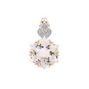 Wobito Snowflake Cut Itinga Petalite Pendant with Diamond in 9K Gold 3.73cts