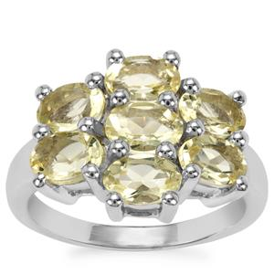 Chartreuse Sanidine Ring in Sterling Silver 2.83cts