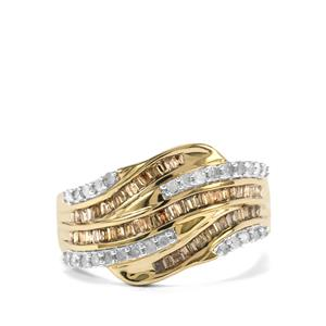 Champagne Diamond Ring with Diamond in 10k Gold 0.76ct