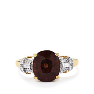 Color Change Garnet Ring with Diamond in 18k Gold 4.78cts