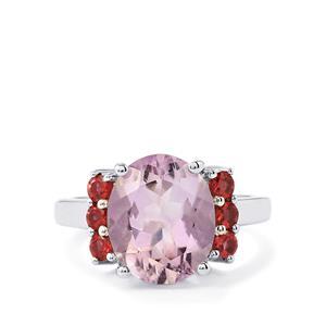 Rose De France Amethyst Ring with Rhodolite Garnet in Sterling Silver 4.94cts