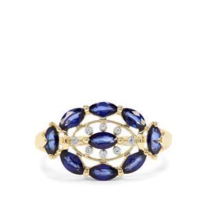 Sri Lankan Sapphire & White Zircon 9K Gold Ring ATGW 1.42cts
