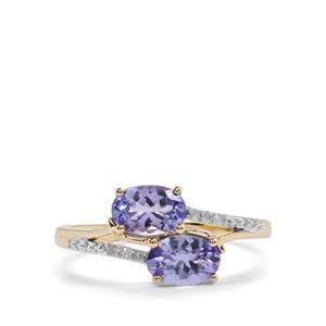 AA Tanzanite Ring with Diamond in 10K Gold 1.26cts