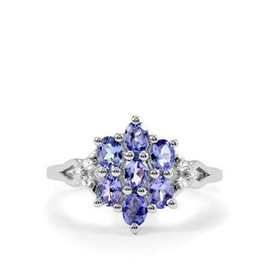 AA Tanzanite Ring with White Zircon in Sterling Silver 1.22cts