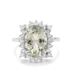 Prasiolite & White Topaz Sterling Silver Ring ATGW 6.33cts