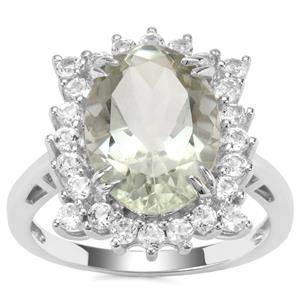 Prasiolite Ring with White Topaz in Sterling Silver 6.33cts