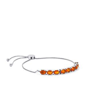 2.93ct AA Orange American Fire Opal Platinum Plated Sterling Silver Slider Bracelet