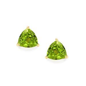 3.85ct Changbai Peridot 9K Gold Earrings
