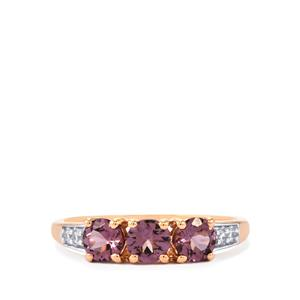 Mahenge Purple Spinel Ring with White Zircon in 10K Rose Gold 1.25cts