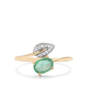 Zambian Emerald & White Zircon 10K Gold Ring ATGW 0.75cts