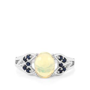 Ethiopian Opal & Blue Sapphire Sterling Silver Ring ATGW 1.33cts