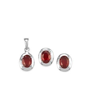 5.82ct Malagasy Ruby Sterling Silver Set of Pendant & Earrings (F)