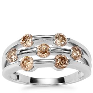Champagne Diamond Ring in 9K White Gold 1.00cts