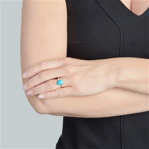 Sleeping Beauty Turquoise Ring with White Zircon in 9K Gold 2.91cts