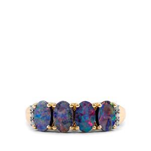 Crystal Opal on Ironstone & Diamond 10K Gold Ring