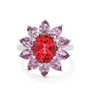 Mystic Pink Topaz Ring with Rose De France Amethyst in Sterling Silver 5.87cts