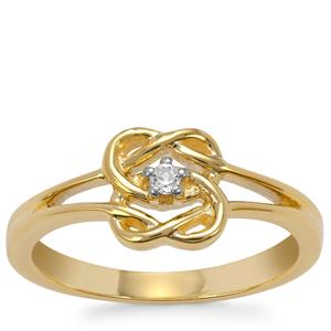 White Topaz Ring in Gold Plated Sterling Silver 0.04ct