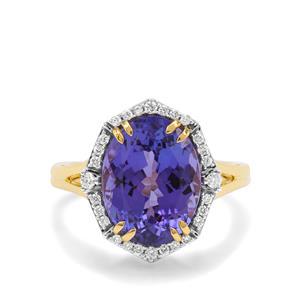 AAA Tanzanite & Diamond 18K Gold Lorique Ring MTGW 6.88cts