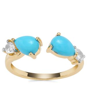 Sleeping Beauty Turquoise Ring with White Zircon in 9K Gold 1.81cts