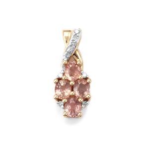 Padparadscha Sapphire & Diamond 9K Gold Pendant ATGW 1.09cts