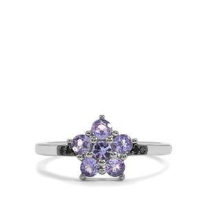 Tanzanite & Blue Diamond Sterling Silver Ring ATGW 0.74cts
