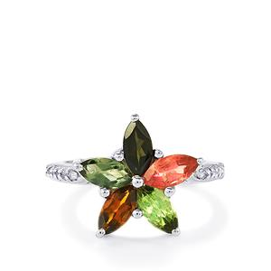 Multi-Color Tourmaline Ring with White Topaz in Sterling Silver 2.05cts