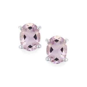 Rose De France Amethyst Earrings in Sterling Silver 2cts