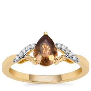 Cuprian Tourmaline Ring with Diamond in 18K Gold 1cts