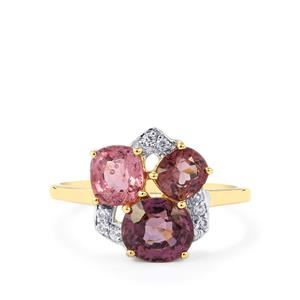 Burmese Spinel Ring with White Zircon in 10k Gold 2.53cts