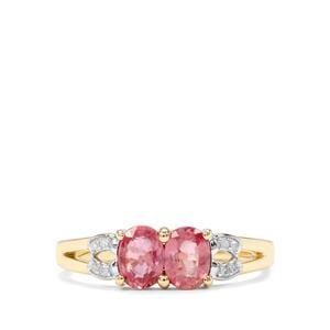Padparadscha Sapphire & Diamond 10K Gold Ring ATGW 1.19cts