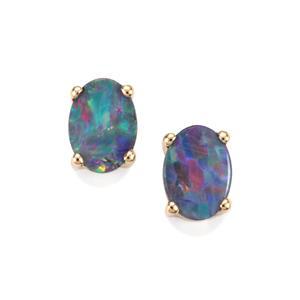 Crystal Opal on Ironstone Earrings in 9K Gold