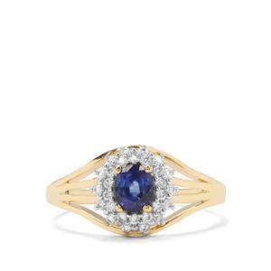 Sri Lankan Sapphire & White Zircon 9K Gold Ring ATGW 0.94cts