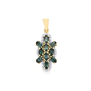 Mahenge Blue Spinel Pendant with White Zircon in 10k Gold 2.64cts