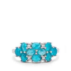 Neon Apatite Ring with White Zircon in Sterling Silver 2.28cts