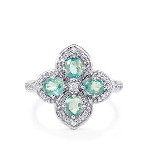2.20ct Ratanakiri Blue & White Zircon Sterling Silver Ring