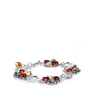 Baltic Cognac, Champagne & Green Amber Sterling Silver Bracelet