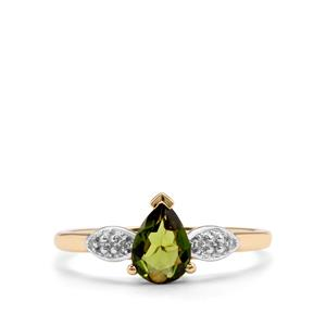 Chrome Tourmaline Ring with Diamond in 9K Gold 0.59ct