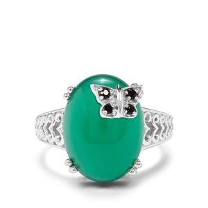 Verde Onyx & Black Spinel Sterling Silver Butterfly Ring ATGW 9.81cts